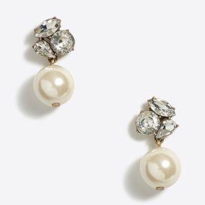 J.Crew Pearl Crystal Drop Earrings Bridal Formal